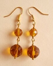 Vintage Orange Amber Faceted Glass Gold Plated Earrings Match Necklaces Gift Bag