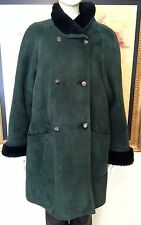 Blue Duck Medium Green/Black Easy Fit Spain Shearling Coat w/ Stand Collar $1899