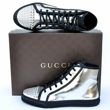 GUCCI New sz 38.5 G - US 9 Womens Studded Shoes Boots High Top Sneakers silver