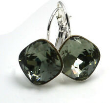 Silver Plated Earrings made with SWAROVSKI Crystals SHEENA *BLACK DIAMOND* 12mm