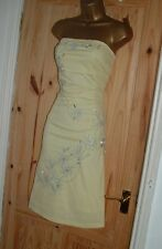Jane Norman yellow silver strapless summer evening party prom dress size 14 16