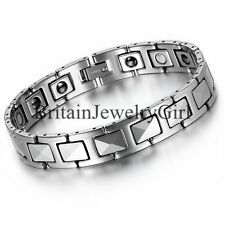 """Men's Tungsten High Polish Magnetic with CZ Link Cuff Bangle Bracelet Gift- 8.7"""""""