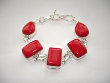 """AB Artist-Made True Red Coral Wrist Chain Bracelet .925 Silver 7-8"""""""