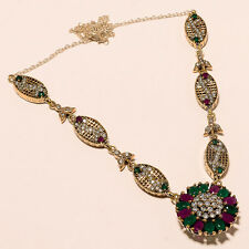 HIGH QUALITY TURKISH 925 STERLING SILVER GEMSTONE RUBY EMERALD JEWELRY NECKLACE