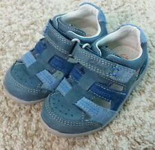 CLARKS baby kids boys shoes leather navy blue size 6.5 MW and 5 NM NEW