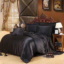 Black Imitated Silk Fabric Satins Bedding Set Bed Sheet Pillowcase 4pcs 2016New