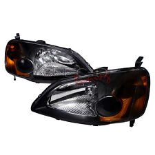 01-03 Honda Civic ES EM 2 Door JDM Black Headlights w/ Amber Reflector