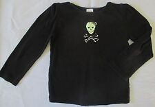GYMBOREE Girls Long Sleeve Black Halloween T-Shirt Tee W/Blingy Skull Size 5