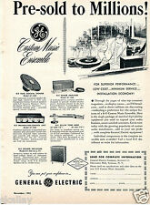 1953 Print Ad GE General Electric Custom Music Ensemble Pre-Sold to Millions!