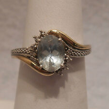 Vintage Estate~AV Signed~Aquamarine & Diamonds 10K Gold & 925 Silver Ring  6.75