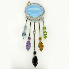 Silver 925 Genuine Natural Large Chalcedony & Gemstone Statement Pendant