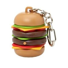 Kikkerland Burping Sound Effect Burger Keyring Novelty Fast Food Key Ring Gift