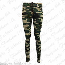 Ladies Women's Camouflage Army Skinny Fit Stretchy Jeans Jeggings Trousers 8-20