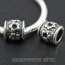 30pcs Tibetan Silver Tone Spacer Beads Fit European Charms Bracelet  Flowers Diy