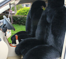 100% Genuine Sheepskin Long Wool Car Seat Covers Front Rear Covers One Set Black