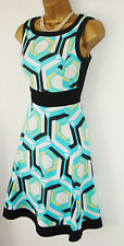 STUNNING NEAT BRIGHT COAST DRESS 8 BLACK WITE AQUA EXCELLENT COCKTAIL OCCASION