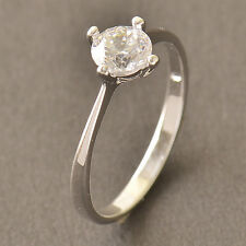 Silver Plated CZ Wedding Engagement eternity love Vintage womens Ring,Size6