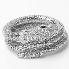 Punk Style Stretch Crystal Rhinestone Animal Snake Curved Bracelet Bangle Cuff
