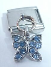 BUTTERFLY BLUE GEMS Italian Charm - 9mm Dangle fits Classic Starter Bracelets