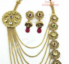 Designer Gold Plated Diamond Kundan Party Necklace Earring Fashion Jewellery Set