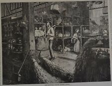 Harper's Weekly, 1876. The Leadenhall Poultry Market, London. Wood Engraving.