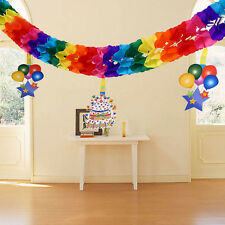 3M Rainbow Colors Paper Hanging Garland Wedding Birthday Party Baby Banner Decor