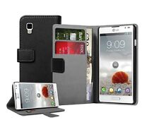 Black Wallet Leather Flip Case Cover for LG P760 Optimus L9 +2 SCREEN PROTECTORS