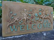 Homely Vintage Antique Style Gold English Stone Fairy's Welcome Garden Plaque