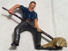 Vintage Rare 1950's Timpo? Lead Figure Farm Worker Using A Pitchfork