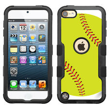 For Apple iPod Touch 5 / 6 Generation 3-Layer Case (Blk/Blk/TF) - Softball