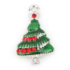 10pcs Plated Rhodium Enamel Red Rhinestone Christmas Tree Alloy Charms Pendant D