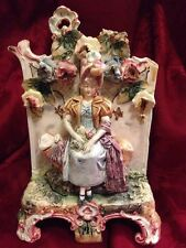 Shabby & Chic Figural Capodimonte Dresden Style Porcelain Planter Antique