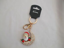 Santa On Crescent Moon Keyring/Bagcharm Clear Crystal Stones Gold Coloured New