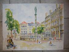 Aquarelle Metz Place St Jacques André Simon 1926-2014 1994 Artiste Lorrain