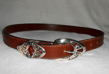 TOBACCO ROAD BROWN LEATHER BELT, DECORATIVE BUCKLE & KEEPERS,USA- SZ M-L, NICE!