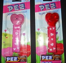 Pez Candy Dispenser Clear No Feet New Card Pink Red Hearts Chocolate Candy