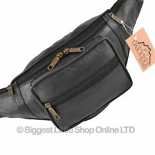 NEW Quality Mens Ladies LEATHER Black Waist BUMBAG Travel by OAKRIDGE Fanny Pack