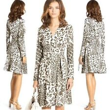 DVF Diane Von Furstenberg T72 Silk Jersey Wrap Dress Feather Leopard Olive 6