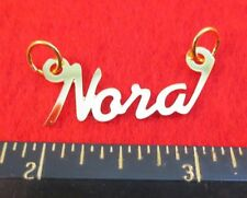 "14KT GOLD EP ""NORA"" PERSONALIZED NAMEPLATE WORD CHARM PENDANT 6312"