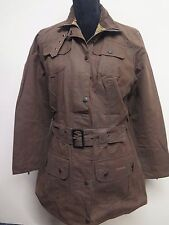 Ladies Barbour L1502 Shaped Waxed Utility Jacket UK 12 Euro 38 in brown