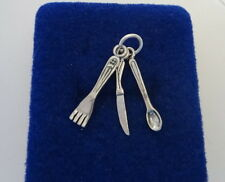 Sterling Silver 3D 25x5mm Kitchen Movable Knife Fork Spoon Charm