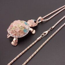 Fashion Golden Tortoise pendant sweater chain Opal crystal long necklace CC038