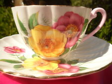 SHELLEY  RATAUDS CAMELLIA *  LUDLOW  SHAPE  * CUP AND SAUCER # 2409 - GOLD TRIM