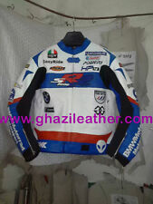 MEN BMW MOTORRAD MOTORBIKE LEATHER RACING JACKET BLUE & WHITE AVAILABLE ALL SIZE