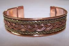 SOLID COPPER TWO TONE CUFFED HEALTH BRACELET men women ladies jewelry braclet