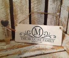 001 Hand Made Personalised Family Name Plaque 19X8 / Shabby Chic Wedding / Sign