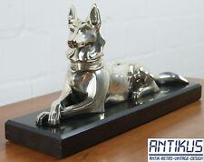 H. Petrilly Art Déco Bronze-Figur versilbert auf schwarzem Sockel Schäferhund