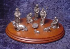DANFORTH PEWTER 10 Piece Nativity Set including Stained Hardwood Base