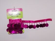 """One yard Hot Pink 5/8"""" Sequin & Glass Beaded Ribbon Trim Sewing Craft Supply"""