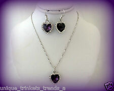 VINTAGE-D PURPLE CRYSTAL HEART SILVER NECKLACE PENDANT AND EARRING EARRINGS SET